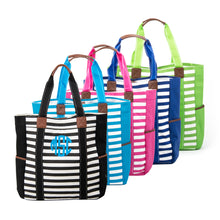 Load image into Gallery viewer, Monogrammed view of our Stripe Family Totes