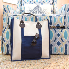 Load image into Gallery viewer, Lifestyle image of our Navy Canvas Breyton tote