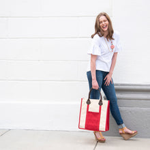 Load image into Gallery viewer, Lifestyle image of our Red Canvas Breyton tote