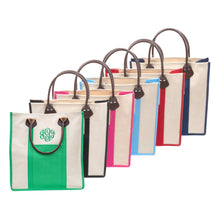 Load image into Gallery viewer, Monogrammed view of our Canvas Breyton Totes