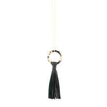 Load image into Gallery viewer, Front view of our Black Blonde Tortoise Tassel Necklace