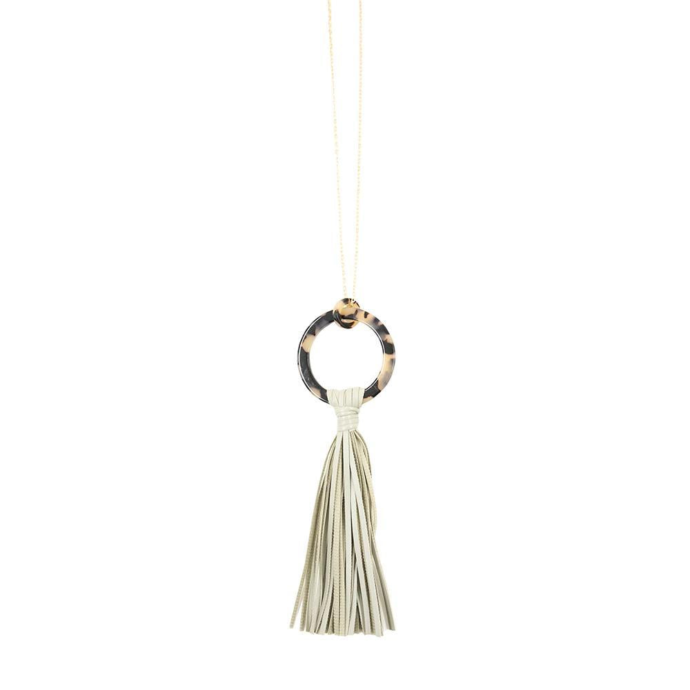 Front view of our Gray Blonde Tortoise Tassel Necklace