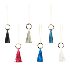 Load image into Gallery viewer, Front view of our Blonde Tortoise Tassel Necklaces