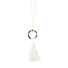 Load image into Gallery viewer, Front view of our White Blonde Tortoise Tassel Necklace