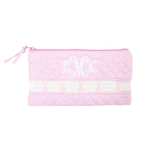 Smocked Pink Bunny Zip Pouch