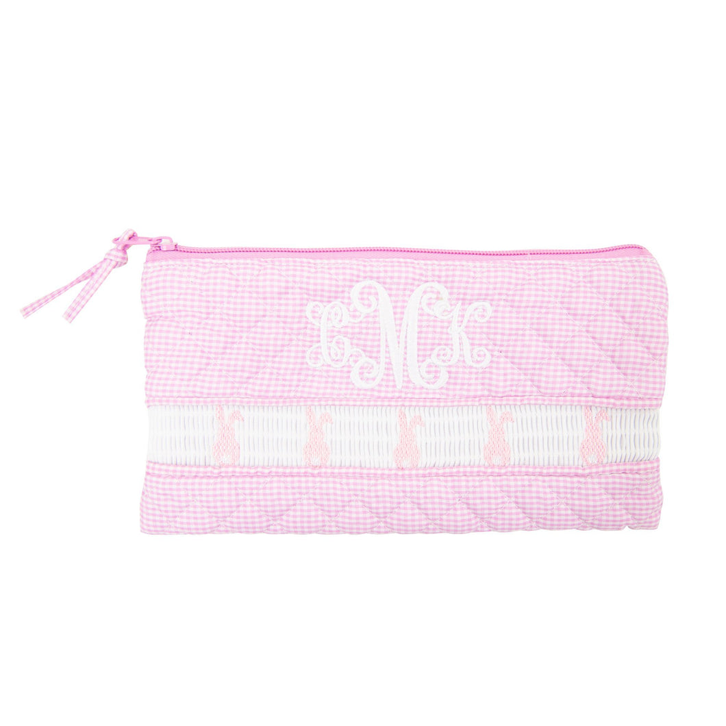 Monogrammed Smocked Pink Bunny Zip Pouch