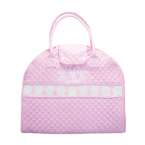 Monogrammed view of our Smocked Pink Bunny Garment Bag