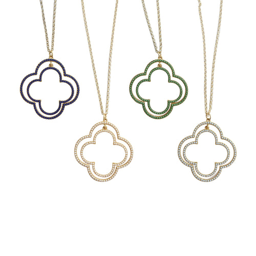 Front view of our Bead Clover Necklaces