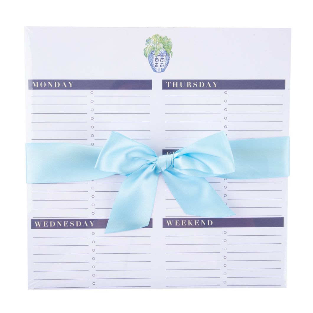 Top view of our Turquoise Leaf Southern Blooms Weekly Planner