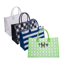 Monogrammed view of our Green Bamboo Box Tote