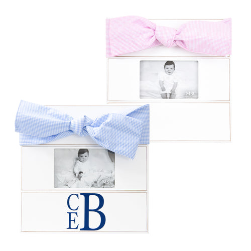 Our Monogrammed Baby Gingham Bow Frames
