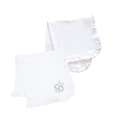 Monogrammed view of our Ruffle Blankets