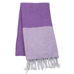 purple beach towel with fringe
