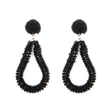 Load image into Gallery viewer, Black Bead Loop Earrings