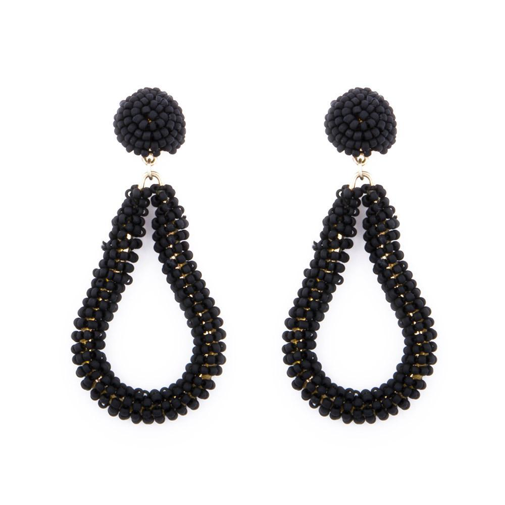 Black Bead Loop Earrings