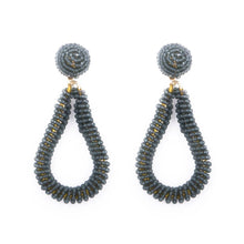 Load image into Gallery viewer, Gray Bead Loop Earrings