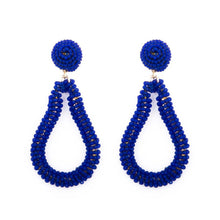 Load image into Gallery viewer, Navy Bead Loop Earrings