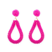 Load image into Gallery viewer, Pink Bead Loop Earrings