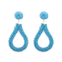 Load image into Gallery viewer, Blue Bead Loop Earrings