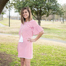 Load image into Gallery viewer, Lifestyle view of our Coral Bell Sleeve Stripe Dress