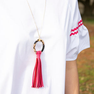 Lifestyle view of our Pink Blonde Tortoise Tassel Necklace