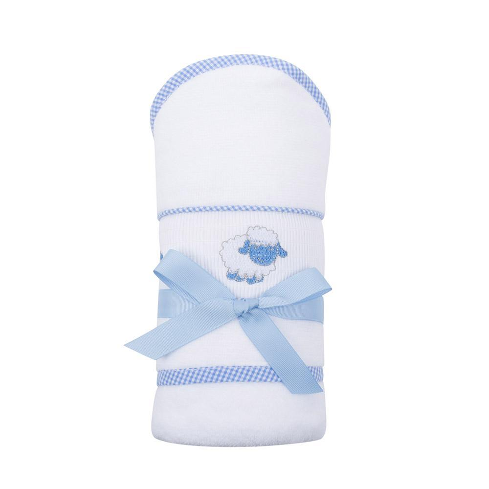 Blue Lamb Smocked Baby Hooded Towel