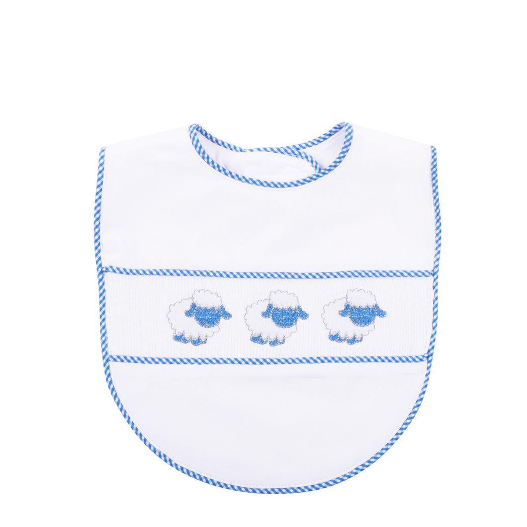 Our Blue Lamb Smocked Baby Bib