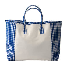 Load image into Gallery viewer, Blue gingham weekender tote