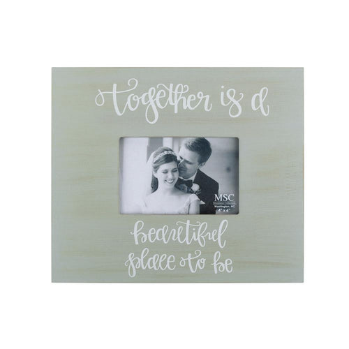 Gray Together is a Beautiful place to be Box frame with handlettering in White.