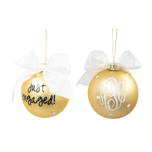 "Monogrammed Bridal Frosted Ornaments- ""Just Engaged"""