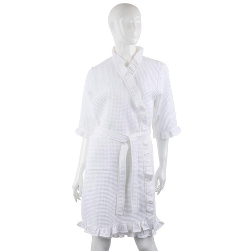 Front view of bridal waffle weave robe
