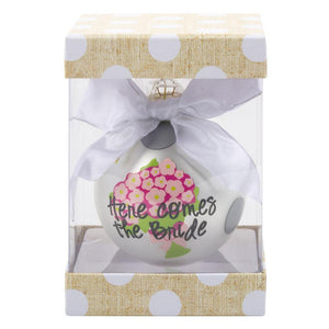 "Monogrammed Bridal Frosted Ornament- ""Here Comes the Bride"""