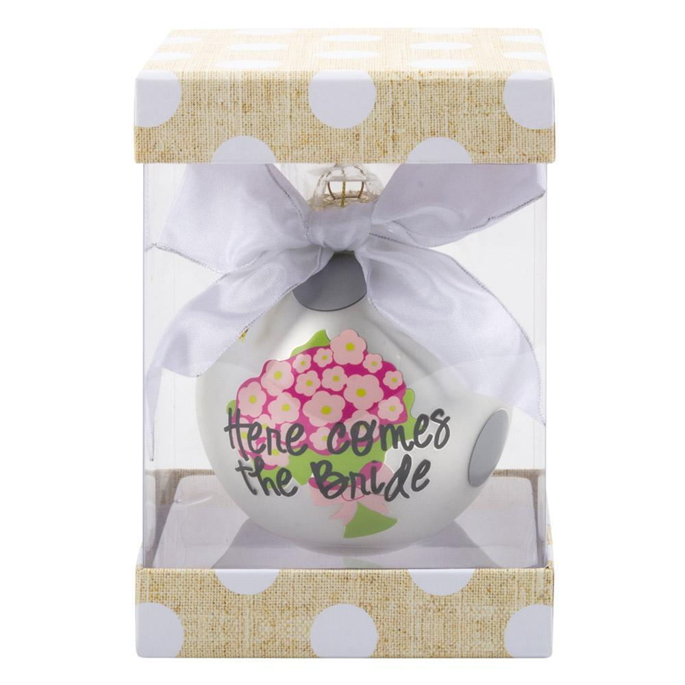 Monogrammed Bridal Frosted Ornament-