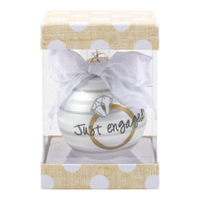 "Monogrammed Bridal Rings Frosted Ornaments- ""Just Engaged"""