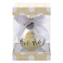 "Load image into Gallery viewer, Wedding Cake Frosted Ornament ""Mr. & Mrs."""