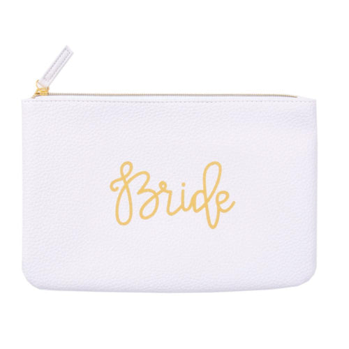 Bride white zippered pouch, hand lettered in gold