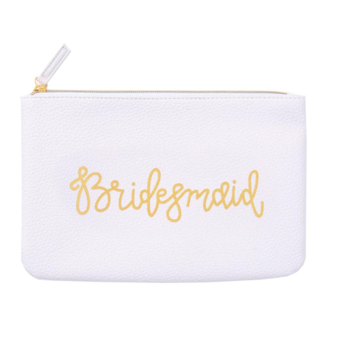 Bridesmaid white zippered pouch, hand lettered in gold
