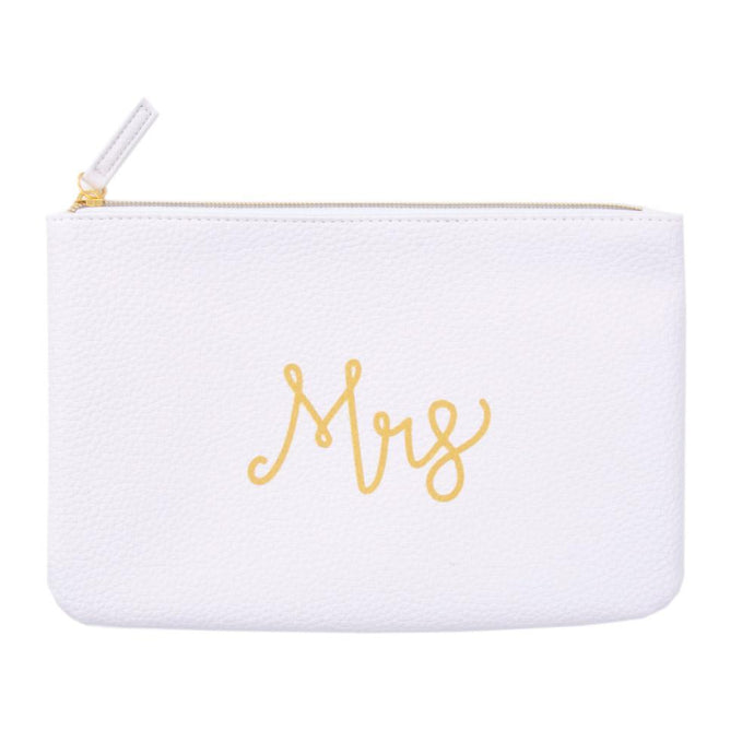 MRS white zippered pouch, hand lettered in gold