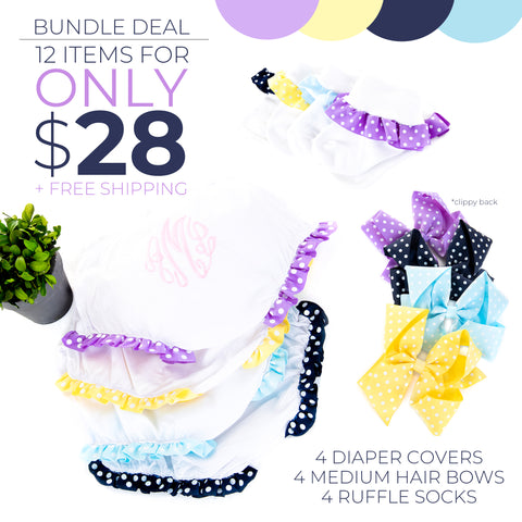 Little Girl Bundle Deal- Diaper Covers, Medium Hair Bows + Ruffle Socks