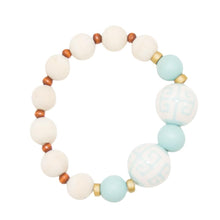 Front view of our Light Blue Ceramic Bead Bracelet