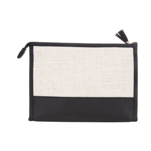 Linen cosmetic pouch with black accents