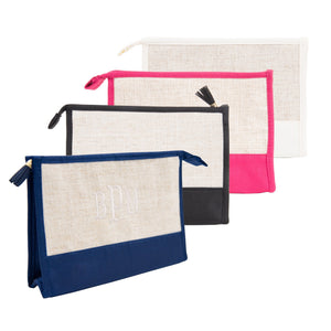 Monogrammed view of our Linen Cosmetic Pouches