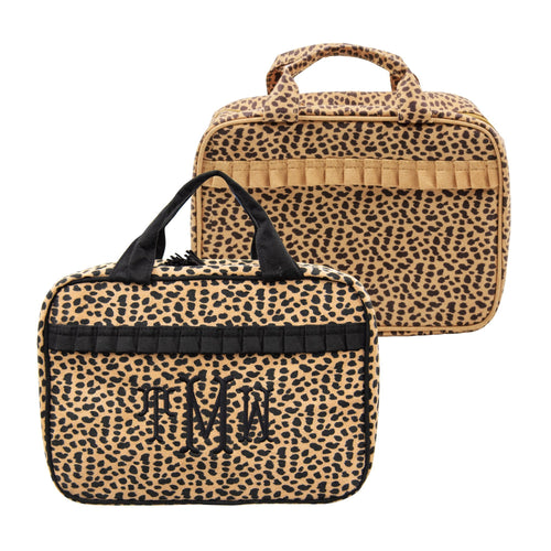 Monogrammed view of our Leopardista Carolina Cosmetic bags