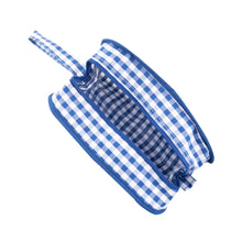 Load image into Gallery viewer, Top view of our Blue Gingham Kentucky Cosmetic Bag
