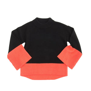 Front view of our Coral Color Block Sweater
