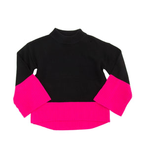 Front view of our Pink Color Block Sweater