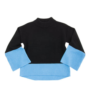 Front view of our Periwinkle Color Block Sweater