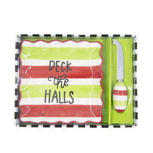 Top view of our Deck the Halls Holiday Cheese Tray Set