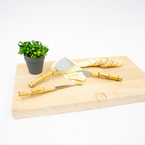 Lifestyle view of our Bamboo Cheese Knife Set