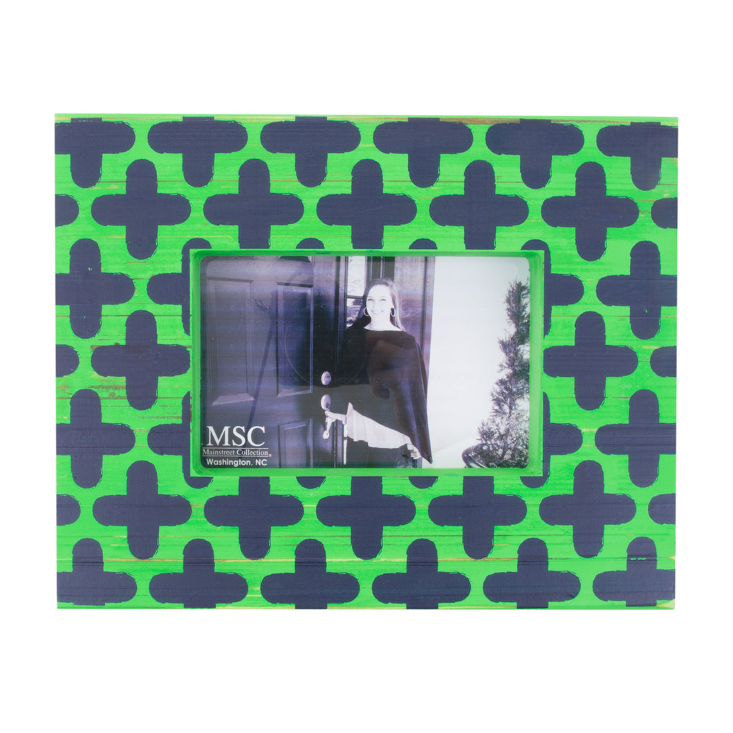 Front view of our Green and Navy Clover Picture Frame